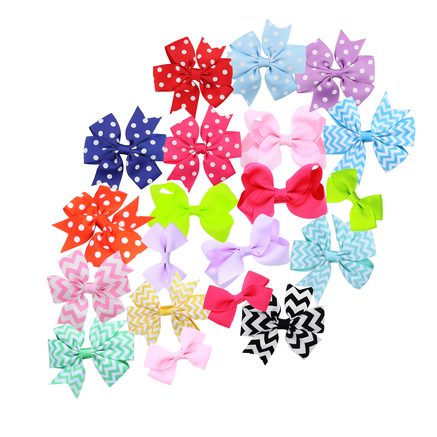 2.75 -3.5 &#34 19 Pcs Boutique Girls Hair Bows Hair Clips For Baby Girls