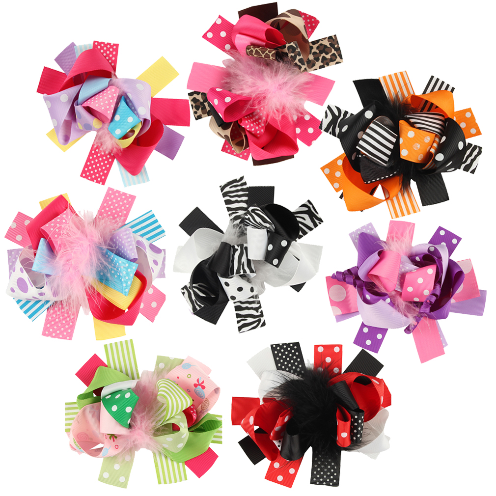 8 pcs 5 &#34 Boutique Stacks Girls Hair Bows Hair Clips For Baby Girls Toddlers