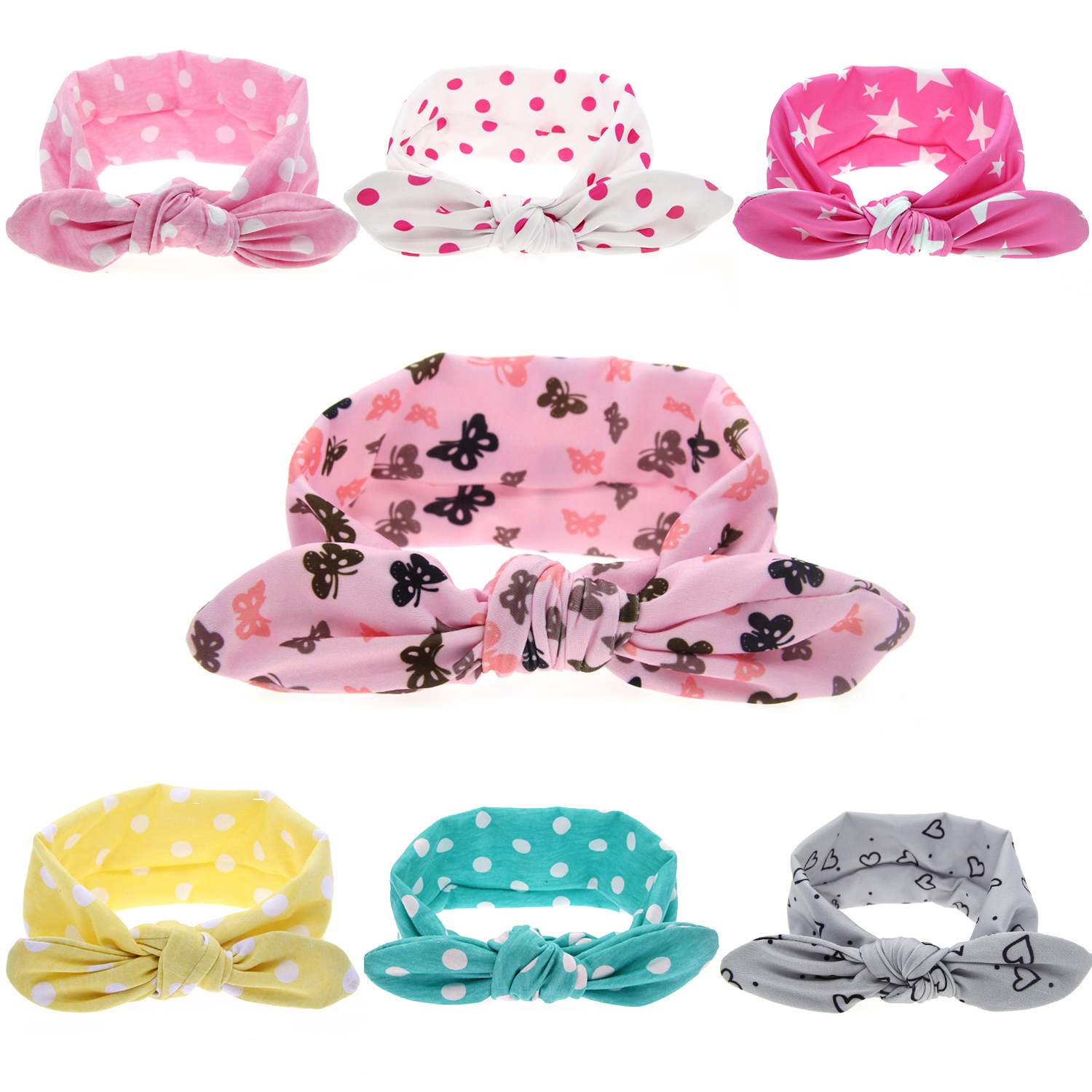 7 Pcs Baby Girls Toddler Infant Newborn Rabbit Ear Headband Hair bands Bunny Ear Turban