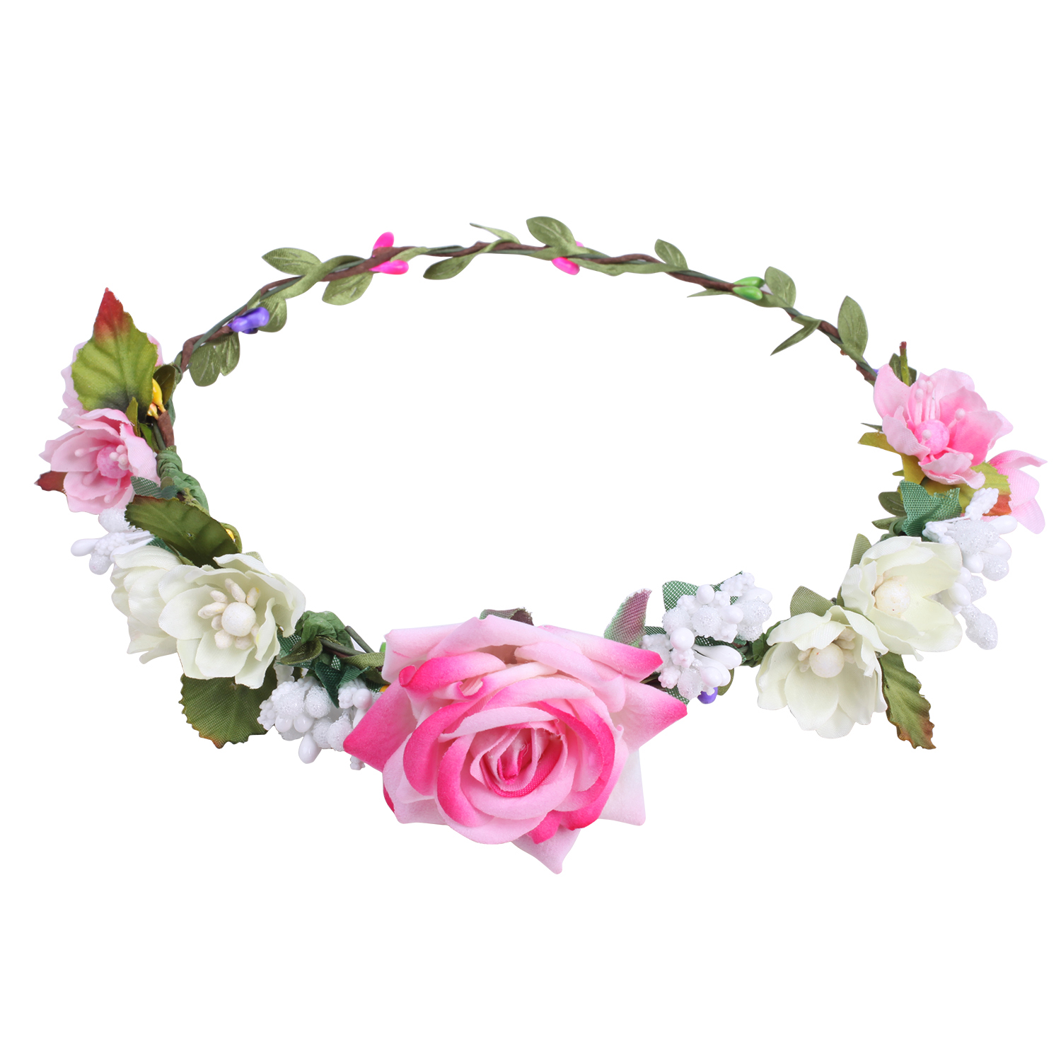 Pink Rose Flower Crown For Wedding Festival Headband Flower Wreath