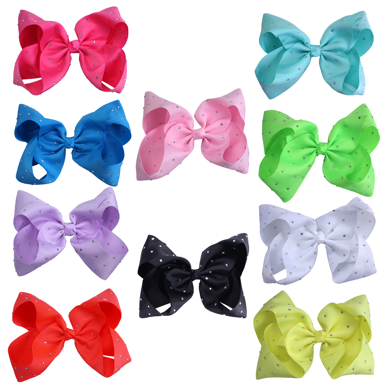 Large Hair Bow Rhinestone Baby Girls Accessories 8 Inch 10 Pcs Sorted Colors