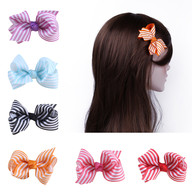 6 pcs 3 &#34 Boutique Strip Girls Hair Bows Hair Clips For Baby Girls Toddlers