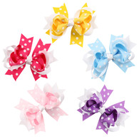 5 pcs 4.5 &#34 Boutique Spike Dots Girls Hair Bows Hair Clips For Baby Girls