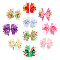 10 pcs 4. 5 &#34 Boutique Spike Girls Hair Bows Hair Clips For Baby Girls Toddlers
