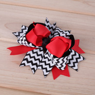 "6 pcs 4.5 "" Boutique Spike Stacks Girls Hair Bows Hair Clips For Baby Girls Toddler"