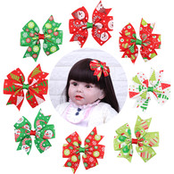 8 Pcs 3&#34 Girls Toddlers Christmas Gift Pinwheel Hair Bows Hair Clips Barrette