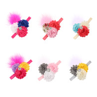 6 pcs 2.5&#34 3 Flower Plumed Hair band Headband For Newborn Baby Girls Toddlers