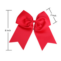 "12 Pcs 8"" Red Jumbo Cheer Bows Ponytail Holder Cheerleading Bows Hair Tie for Teens Girl"