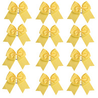 "12 Pcs 8"" Yellow Jumbo Cheer Bows Ponytail Holder Cheerleading Bows Hair Tie for Teens Girl"