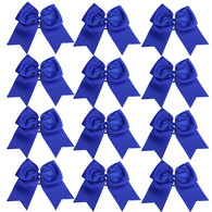 "12 Pcs 8"" Blue Jumbo Cheer Bows Ponytail Holder Cheerleading Bows Hair Tie for Teens Girl"