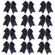"12 Pcs 8"" Black Jumbo Cheer Bows Ponytail Holder Cheerleading Bows Hair Tie for Teens Girl"