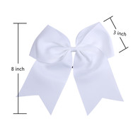 "12 Pcs 8"" White Jumbo Cheer Bows Ponytail Holder Cheerleading Bows Hair Tie for Teens Girl"