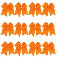 "12 Pcs 8"" Orange Jumbo Cheer Bows Ponytail Holder Cheerleading Bows Hair Tie for Teens Girl"