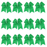 "12 Pcs 8"" Green Jumbo Cheer Bows Ponytail Holder Cheerleading Bows Hair Tie for Teens Girl"