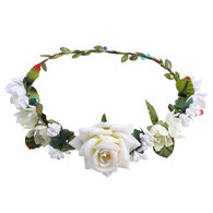Ivory Rose Flower Crown for Wedding Festival Headband Flower Wreath Garland Headpiece for Women Wedding
