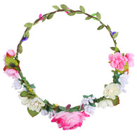 Pink Rose Flower Crown for Wedding Festival Headband Flower Wreath Garland Headpiece for Women Wedding