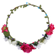 Red Rose Flower Crown for Wedding Festival Headband Flower Wreath Garland Headpiece for Women Wedding