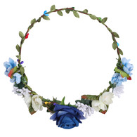 Blue Rose Flower Crown for Wedding Festival Headband Flower Wreath Garland Headpiece for Women Wedding