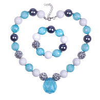 Blue Chunky Bubblegum Necklace and Bracelet set for Kids Girls