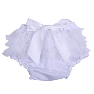 White Ruffle Bloomer Diaper Cover for Baby Girls Toddlers