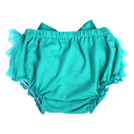 Teal Ruffle Bloomer Diaper Cover for Baby Girls Toddlers
