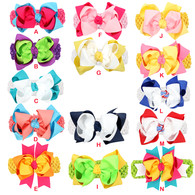 5 inch Double Color Stack Hair Bow Wrapped Clip with Detachable Headband for Baby Girls Toddler Kids