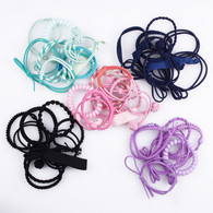 Hair Ties 5 Solid Colors Elastics Ponytail Holders Bracelet Baby Girls Women 45 Set