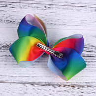 Larger Boutique 6 inch Rainbow Hair Bows Clips For Baby Girls Teens Toddlers Gifts 12 Pcs