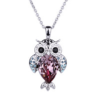 Alloy Owl Crystal Pendant Necklace Girl Kids Gift Rhodium-plated