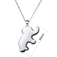 Alloy Elephant Crystal Pendant Necklace Girl Kids Gift Rhodium-plated