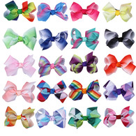 Boutique Hair Bow Rainbow 3 Inch 20 Pcs Hair Clips For Baby Girls Toddlers