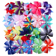 Boutique Hair Bow Rainbow Pinwheel 3 Inch 20 Pcs Hair Clips For Baby Girls Toddlers